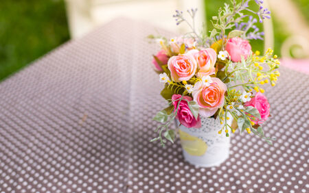 Colorful decoration artificial flower ,sunlight photo