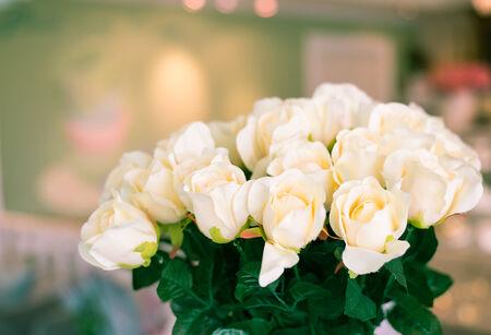 Beautiful white rose decoration background ,vintage-retro photo
