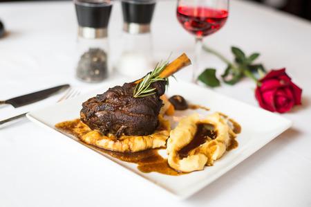 steak lamb shank and red wine photo