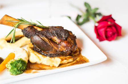 shank: steak lamb shank and red wine