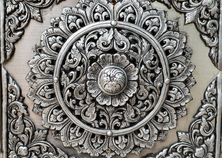 Thai silver Art texture background photo