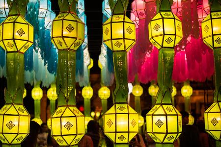 loi: Northern Thai Style Lanterns at Loi Krathong (Yi Peng) Festival, Chiang Mai, Thailand
