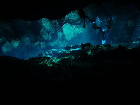 free diver: Cenote in Cancun