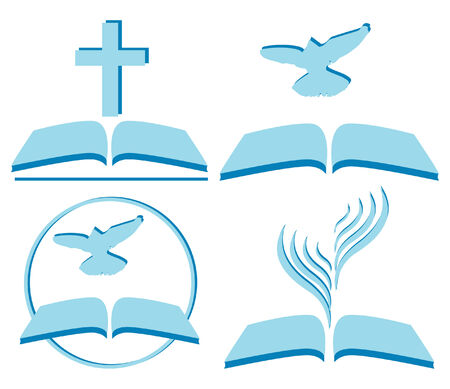 bible open: symbols of Christianity, several options Illustration