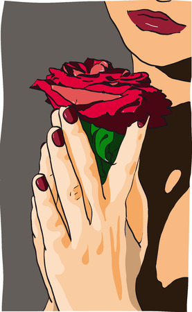 illustration of a girl holding red roses Stock Vector - 6778795