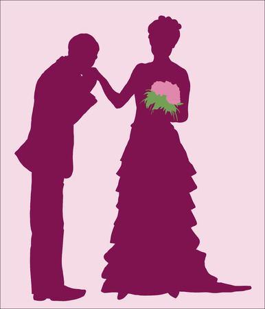 illustration, silhouettes of the newlyweds, my husband kisses his wifes hand Vector