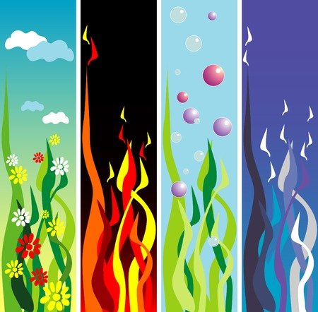 cuatro elementos: banners representando los cuatro elementos, tierra, agua, fuego, aire