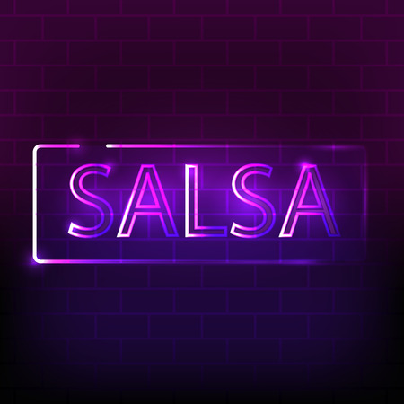 Salsa neon sign on the dark brick wall.