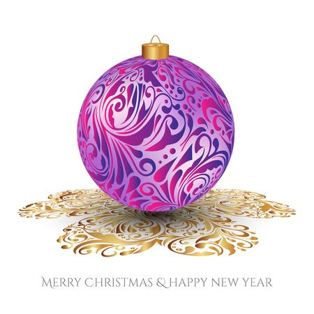 Christmas card. Pink Christmas toy with the silver ornament. Ornamented shadow.