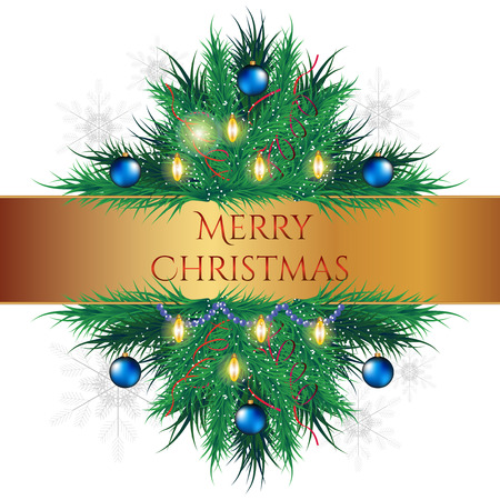Christmas tree with decors vector