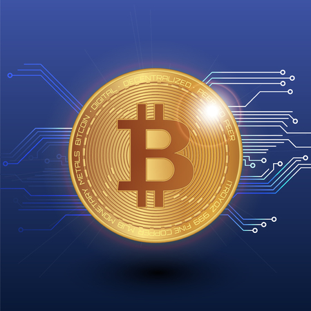 Bitcoin stock vector illustration. Digital currency. Cryptocurrency. Golden coin with bitcoin symbol depicted on the blue background.
