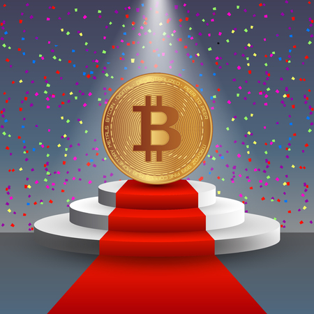 Bitcoin stock vector illustration. Digital currency. Cryptocurrency. Golden coin with bitcoin symbol depicted on the red carpet and on the podium surrounded by the confetti. Illustration