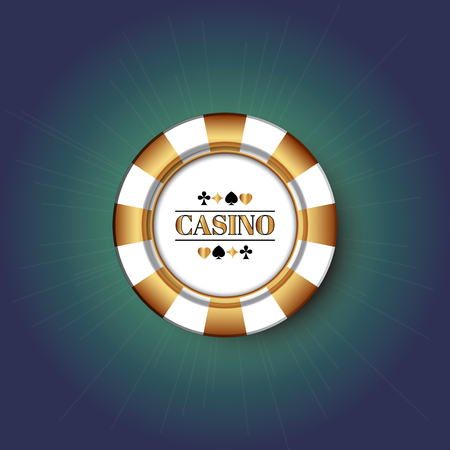 Golden Casino Chip on the blue background.  イラスト・ベクター素材