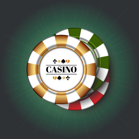 Casino Chips on the green background.