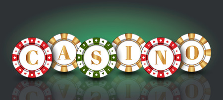 Red-green-gold casino Chips on the green background.  イラスト・ベクター素材