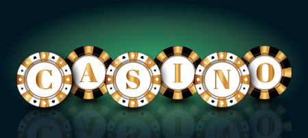 Black-white-gold casino Chips on the green background. Vectores