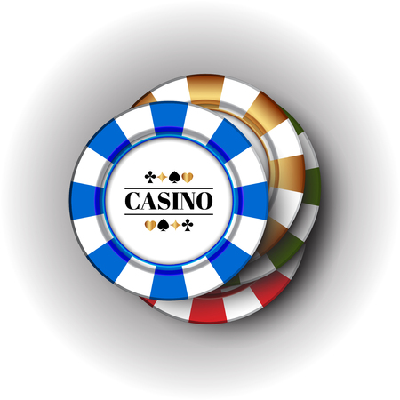 Four colorful casino Chips on the white-grey background.  イラスト・ベクター素材
