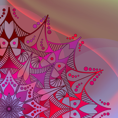 Abstract Mandala on the colourful wave background. Stock Illustratie