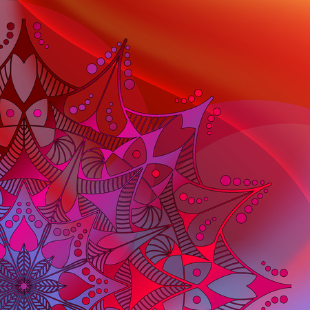 Abstract  Mandala on the colourful wave background.