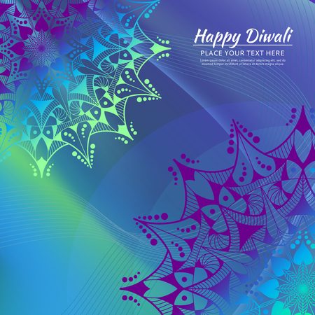 Happy Diwali invitation card. Mandala on the colorful background.