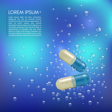 Realistic 3d pills in the water with the bubbles. Pharmacy, antibiotic, vitamins, tablet, capsule. Medicine. Vector illustration of the Tablets and Drugs.