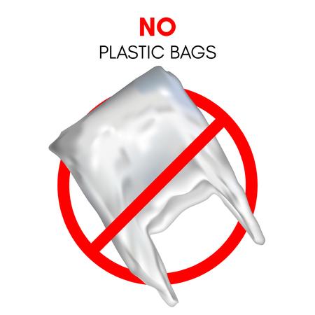 3D realistic plastic bag. No plastic bag sign. Red stop sign. Stock Photo