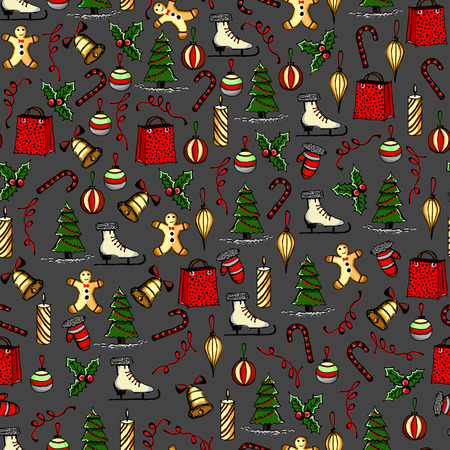 Colorful christmas seamless texture with the Christmas objects made in the hand painted style.