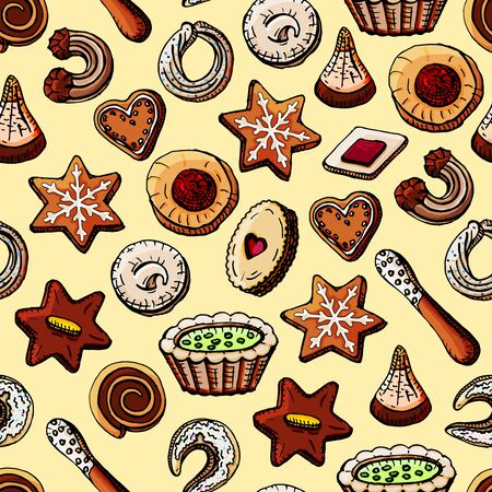 Hand-painted Christmas seamless texture with sweet desserts and cookies. Imagens