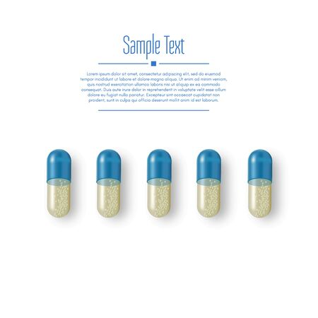 Realistic 3d pills. Pharmacy, antibiotic, vitamins, tablet, capsule. Medicine. Vector illustration of the Tablets and Drugs.