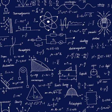 Physik Formeln. Nahtlose Textur. Schultafel mit den Formeln und Gleichungen.