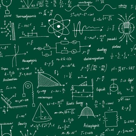 Formule di fisica. Trama senza soluzione di continuità. Lavagna scolastica con le formule e le equazioni. Stile dipinto a mano.