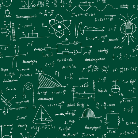 Wzory fizyki. Tekstura. Tablica szkolna ze wzorami i równaniami. Styl ręcznie malowany.