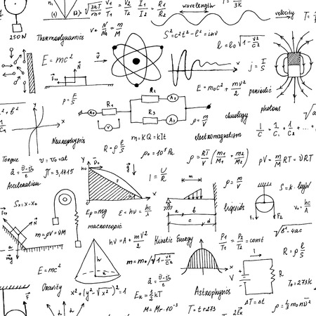 Physics Formulas. Seamless texture. School blackboard with the formulas and equations.Hand-painted style. Illustration