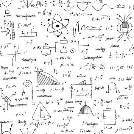 Physik Formeln. Nahtlose Textur. Schultafel mit den Formeln und Gleichungen. Handgemalter Stil. Vektorgrafik