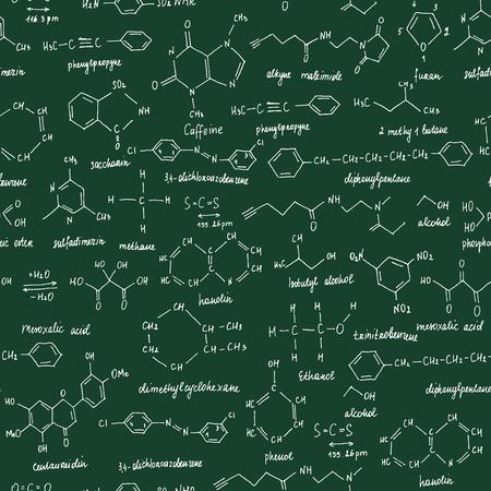 Compuestos orgánicos. Textura fluida. Boceto de la pizarra de la escuela con el compuesto orgánico químico. Química Orgánica.