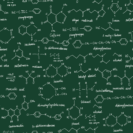 Organic compounds. Seamless texture. Sketch of the school blackboard with the chemestry organic compound. Organic -chemistry.