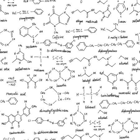 Organische Verbindungen. Nahtlose Textur. Skizze der Schultafel mit der organischen Verbindung der Chemie. Organische Chemie. Vektorgrafik