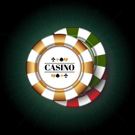 Colorful Casino Chips on the green background.