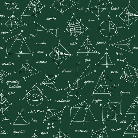 Geometry sketch. Seamless texture. School blackboard with the sketches and geometrical elements. Reklamní fotografie - 129970635