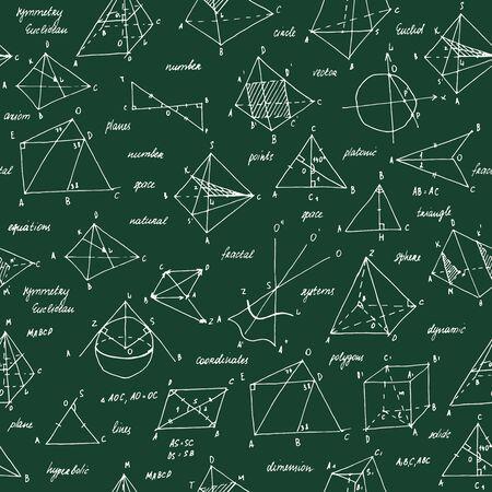 Schizzo di geometria. Trama senza soluzione di continuità. Lavagna scolastica con gli schizzi e gli elementi geometrici. Vettoriali