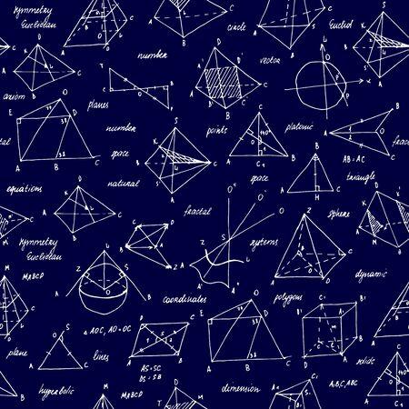 Geometrie-Skizze. Nahtlose Textur. Schultafel mit den Skizzen und geometrischen Elementen.