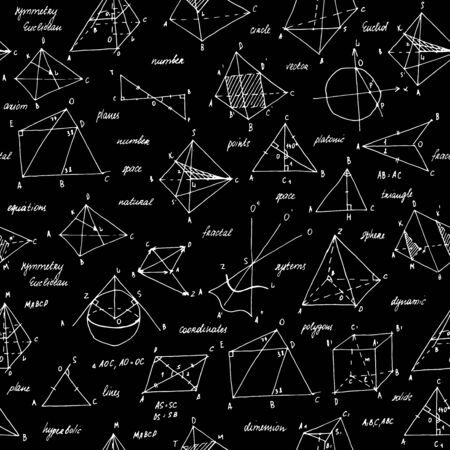 Geometry sketch. Seamless texture. School blackboard with the sketches and geometrical elements.