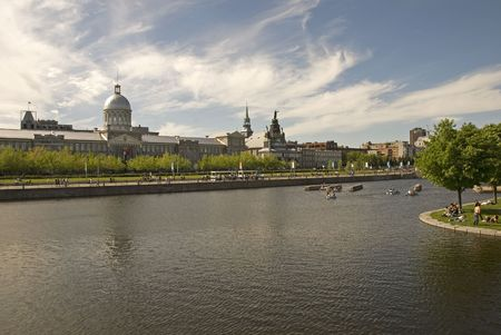 Montreal waterfront with old Bonsecours Market building