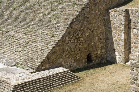 Ancient Zapotec stone structure in Monte Alban, Oaxaca, Mexico