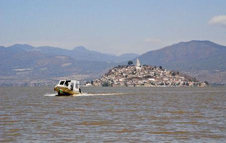 morelos: View of Island Janitzio on Lake Patzcuaro, Michoacan, Mexico