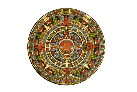 mayan calendar: Aztec calendar carved out of lava stone and colored with natural dyes - White background