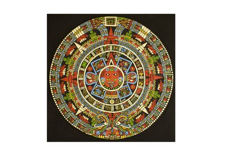 almanac: Aztec calendar carved out of lava stone and colored with natural dyes - Black background