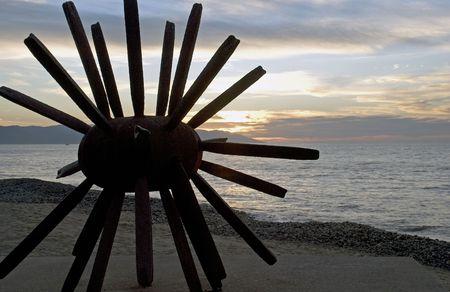 プエルト バジャルタのビーチにサンセットで抽象的なウニ