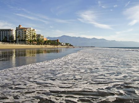 oceanfront: Wide Pacific Ocean beach in Nuevo Vallarta, Mexico Stock Photo