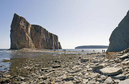 Perce Rock Island (Rocher Perce) viewed at low tide in Gaspe, Quebec, Canada Stock Photo